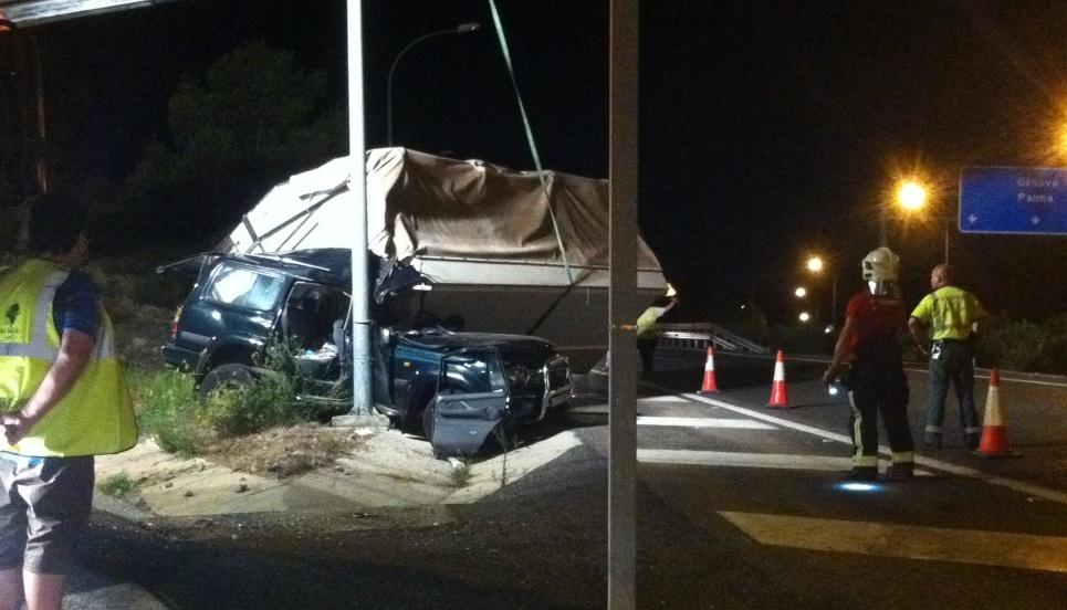 Accidente sin heridos en la autopista de Andratx a la altura de Portals