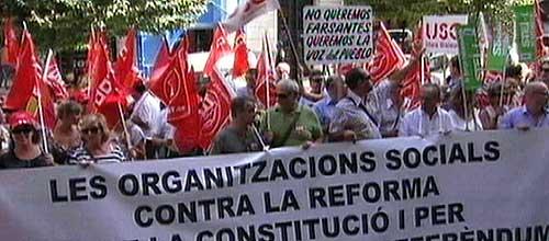 300 sindicalistas se manifiestan en contra de la reforma constitucional