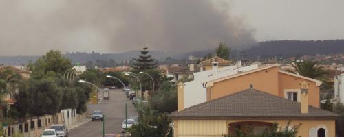 Declarado un incendio forestal en Marratxí cerca de varias viviendas