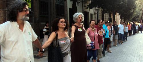 La cadena humana de sindicalistas dice no a la reforma constitucional