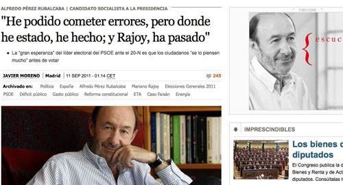 Ostentosa campaña de Rubalcaba en El País
