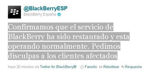 BlackBerry registra nuevos problemas de conexión
