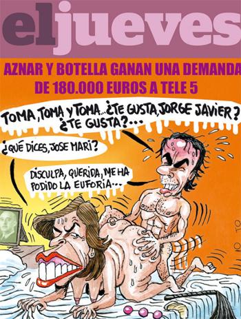 El Jueves caricaturiza a los Aznar en la cama