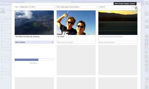 Facebook permite cargar y añadir detalles a las fotos al mismo tiempo