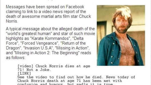 Una estafa en Facebook intenta matar a Chuck Norris
