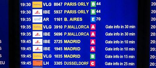 Desinformación en los paneles de los aeropuertos