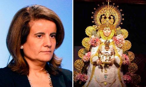 Fátima Báñez cree que la Virgen del Rocío nos sacará de la crisis