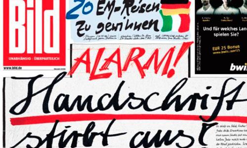 El Bild alerta del fin de la caligrafía con una portada escrita a mano