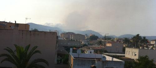 Incendio forestal en la carretera Palma-Puigpunyent