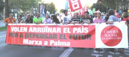 La Cimera Social mostró en Palma su rechazo a las políticas de ajuste