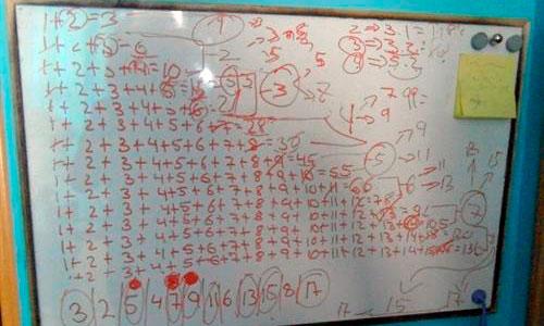 Una joven simplifica la suma de los 100 primeros números naturales