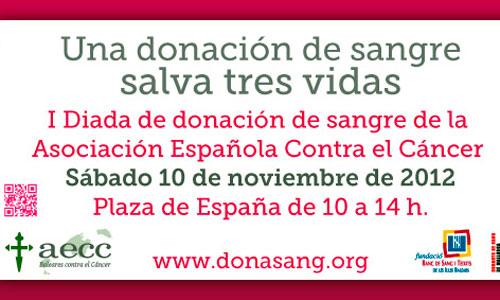 Donación de sangre en la Plaza de España