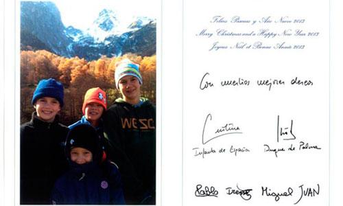 Urdangarín no firma con su nombre la felcitación navideña de la Infanta
