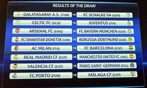 Milan-Barça y Real Madrid-Manchester en octavos