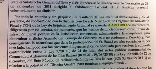 La Fiscalía archiva la denuncia penal del PSM contra Bauzá