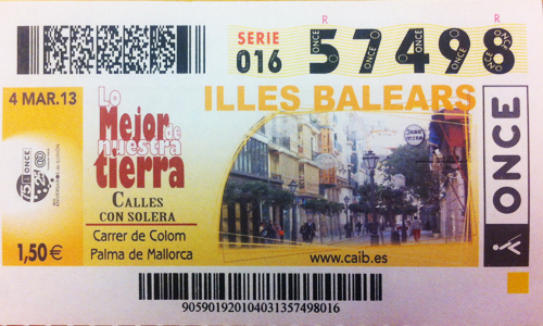 La ONCE dedica los cupones de esta semana a Baleares