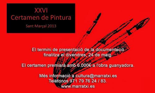 XXVI Convocatoria del Certamen de Pintura Sant Marçal 2013