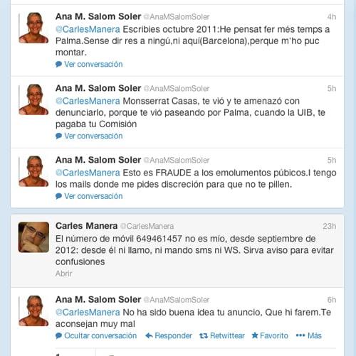 Aina Salom acusa de fraude a Carles Manera a través de twitter