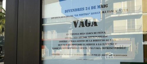 La huelga en Sa Nostra no ha parado el funcionamiento de sus oficinas