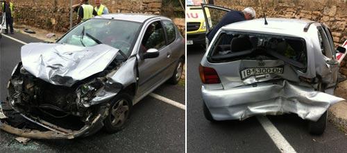 Dos heridos leves en un accidente en la carretera de Sineu