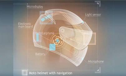 Un casco de moto como google glass
