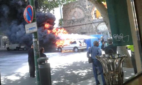 Se incendia un coche en el centro de Palma