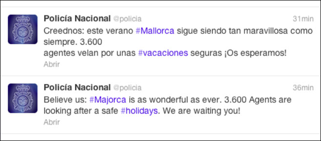 La Policía Nacional promociona Mallorca a través de twitter