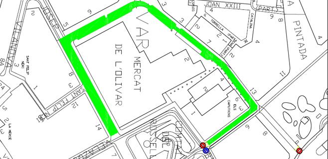 Obras de pavimentación de las calles que rodean el mercado del Olivar
