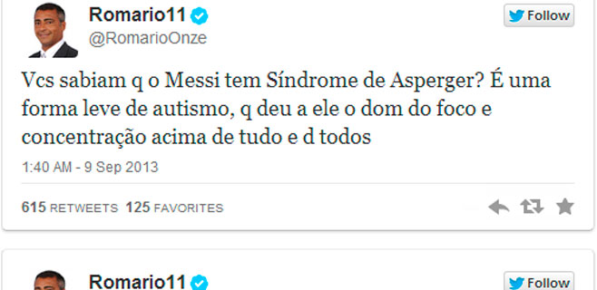 Romario afirma que Messi es Asperger