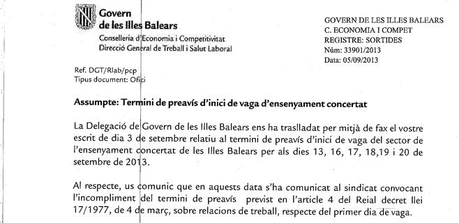 El Govern declara ilegal la huelga