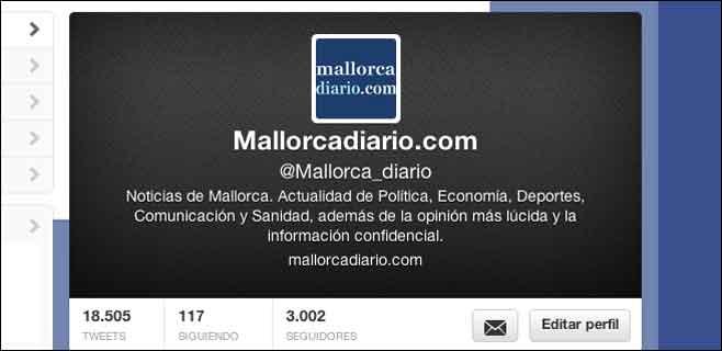 mallorcadiario.com supera los 3.000 seguidores en Twitter