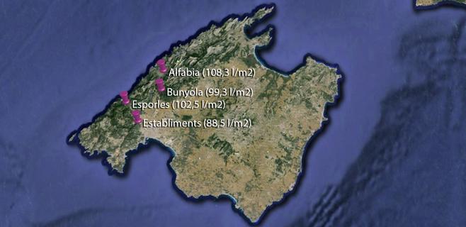 Un ciclón en el Mediterráneo deja 100 litros/m² en Alfabia y Esporles