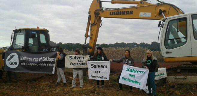 Ecologistas bloquean las obras del centro comercial de Ses Fontanelles