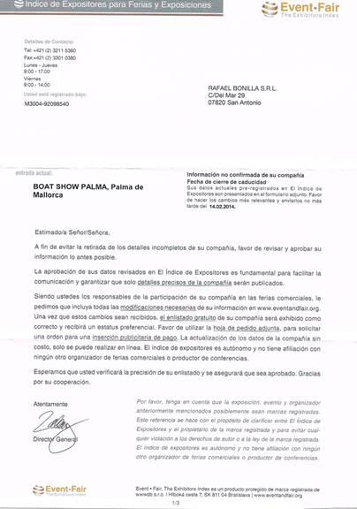 Palma Boat Show denuncia un fraude dirigido a las empresas náuticas