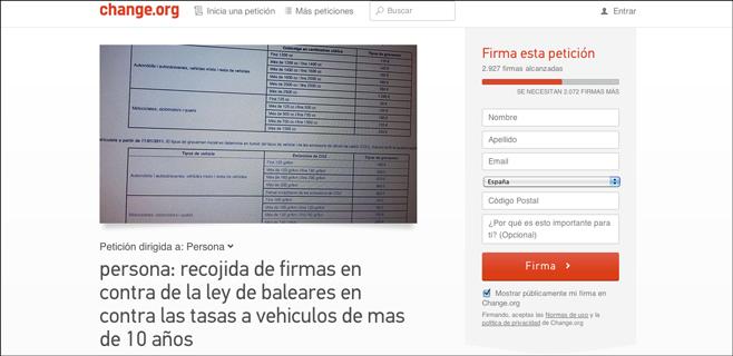 Recogida de firmas contra el impuesto de compraventa de coches usados
