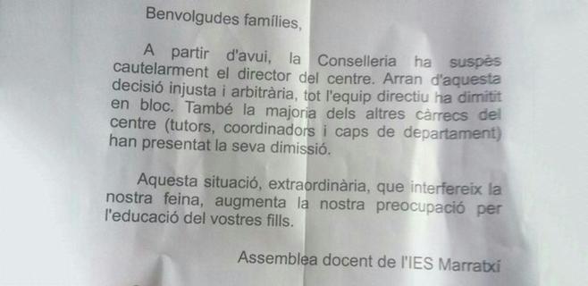 Dimite la directiva del IES Marratxí