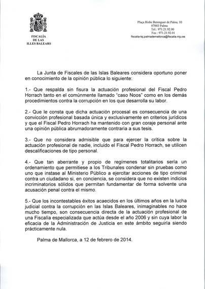 Lea aquí el comunicado de la Fiscalía de les Illes Balears