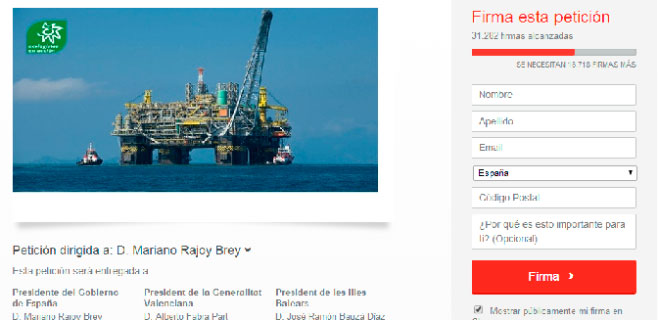 Más de 31.000 firmas en contra de los sondeos petrolíferos