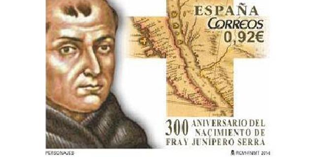 Correos dedica un sello al III centenario del nacimiento de Fray Junipero Serra