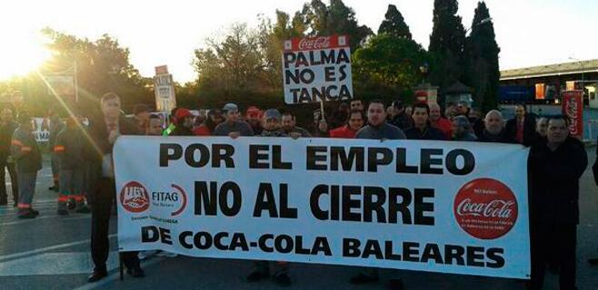 El 85% de la plantilla de Coca-Cola en Palma para 2 horas contra el cierre