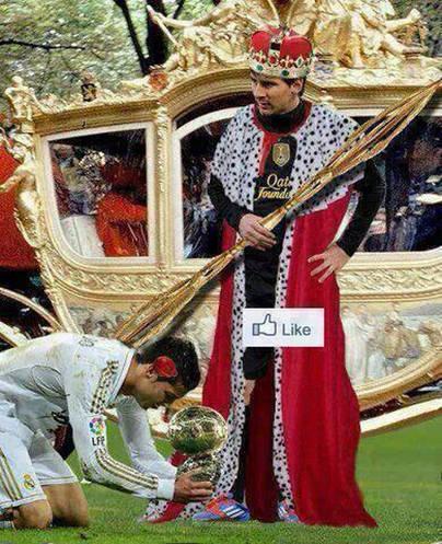Cristiano a los pies del rey Messi