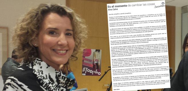 Calvo omite en una carta que sólo lleva once años afiliada al PSIB-PSOE