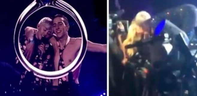 Miley Cyrus se besa con una de sus fans
