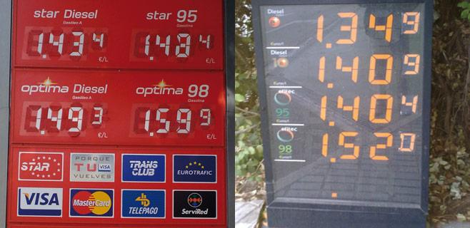 8,5 céntimos de diferencia en tan sólo 15 km