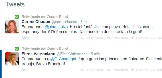 Chacón felicita a Calvo, Valenciano a Armengol