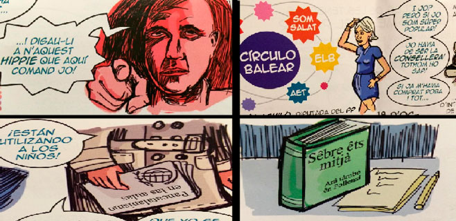 Distribuídos en los colegios públicos de Mallorca cómics de mofa al Govern