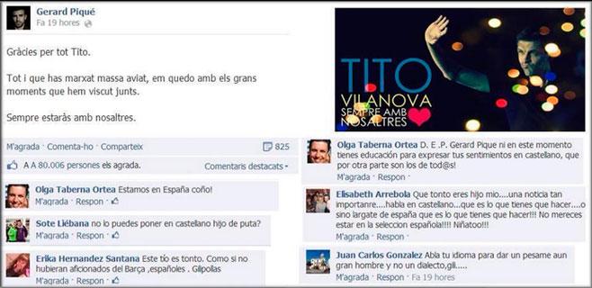 Lluvia de insultos a Piqué por escribir en catalán
