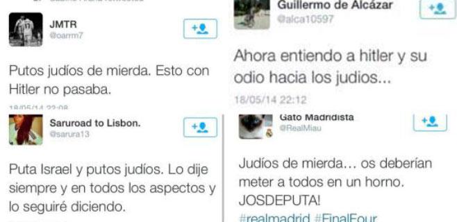 Denunciados 17.500 tuits antisemitas tras el Maccabi-Real Madrid
