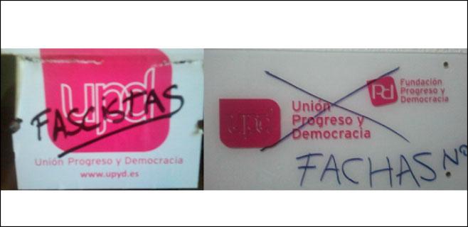 UPyD Balears denuncia las pintadas aparecidas en su sede de Palma