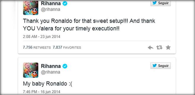 Rihanna se pone cariñosa con Cristiano Ronaldo por Twitter